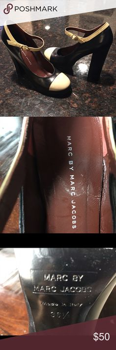 Authentic Marc Jacobs Mary Jane Platforms Pre-owned with normal signs of wear, good condition, eye-catching Mary Jane designer shoes. Heels 4-5 inches. Price is firm. No trades. Marc Jacobs Shoes Platforms