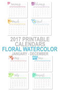 Printable 2017 Floral Watercolor Calendars