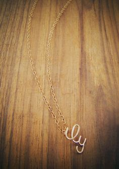 I love you-lowercase script necklace-14 karat gold. Perfect, makes me happy :)