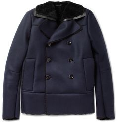 Valentino Shearling-Lined Wool and Cashmere-Blend Peacoat | MR PORTER
