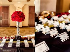 red roses with elegant place cards #figlewiczphotography