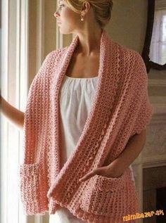 Crochet Shawl With Pockets.