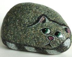 Large Hand Painted River Rock Cat, Petrified Cat
