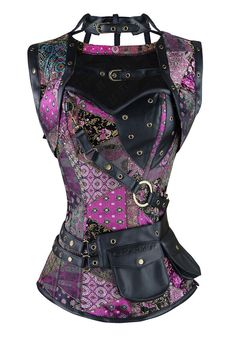 Cheap women steampunk, Buy Quality steampunk corset directly from China corset plus Suppliers: New Sexy Women Steampunk Corset Punk Purple Black Faux Leather Floral Steel Boned Bustiers Lace Up Plus Size Waist Trainer Moda Steampunk, Costume Steampunk, Style Steampunk, Gothic Steampunk, Steampunk Clothing, Steampunk Fashion, Gothic Fashion, Trendy Fashion, Fashion Trends