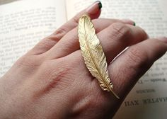 Feather Ring  Gold Double Finger Statement Ring  Quill by IrinSkye, $15.00
