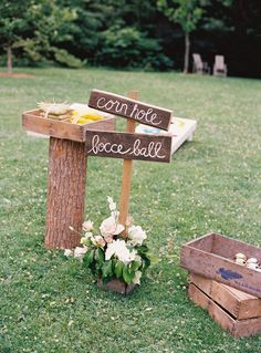 Bocce ball and corn hole! Floral Design by Hatch Creative Studio | hatchcreativestudio.com, Photography + Cinematography by Charlotte Jenks Lewis | charlottejenkslewis.com, Read more - http://www.stylemepretty.com/2013/06/17/bronx-wedding-from-charlotte-jenks-lewis-hatch-creative-studio/