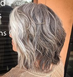 60 Gorgeous Gray Hair Styles Shaggy Wavy Salt-and-Pepper Lob Grey Curly Hair, Short Grey Hair, Brown Blonde Hair, Lilac Hair, Emo Hair, Pastel Hair, Green Hair, Blue Hair, Grey Hair Lob