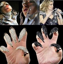 Fashion Gothic Punk Crystal Rhinestone Finger Talon Nail Claw Luxury Ring