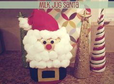 Milk jug santa craft and other kid crafts Christmas Craft Projects, Holiday Crafts For Kids, Christmas Activities, Kids Christmas, Christmas Decorations, Xmas, Christmas Stuff, Holiday Ideas, Santa Crafts
