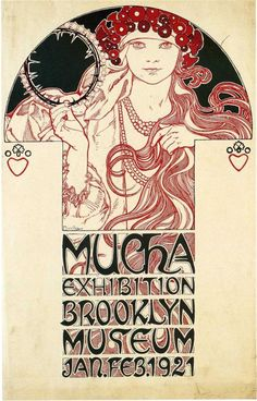 Poster for the Brooklyn Exhibition - Alphonse Mucha