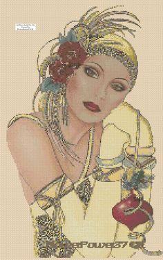 Cross stitch chart Art Deco Lady 44a FlowerPower37-UK-..free uk P&p.. | eBay
