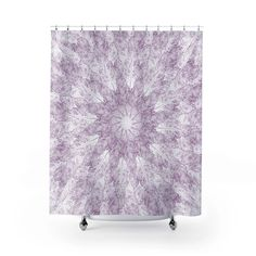 Light Purple on White Leaf Prints in A Contemporary Starburst Mandala – Metro Shower Curtains Mandala Shower Curtain, Fabric Shower Curtains, Boho Bathroom, Modern Bathroom, Pure White Background, Purple Color Palettes, Purple Bathrooms, White Shower, Bath Girls