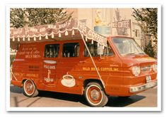 A #HillsBros. Coffee truck with canopy & mechanical coffee taster on top! 1964