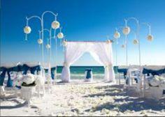 Aisle of white flower petals. Lantern and vase decor. Beach wedding.
