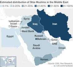 Muslim Shia population density in the Middle East