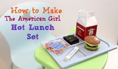 American Girl Hot Lunch Set A few days ago American Girl released several new items. Some of my personal favorites are the American Girl Hot Lunch Set, the Slow Cooker Dinner set, the Science Fair. Diy Ag Dolls, Ag Doll Crafts, Diy Doll, American Girl Food, American Girl Crafts, Craft Stick Crafts, Diy And Crafts, Bear Crafts, Doll Videos