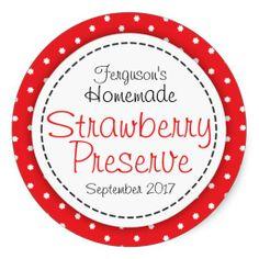 Round strawberry preserve or jam jar food label round stickers designed by www.sarahtrett.com