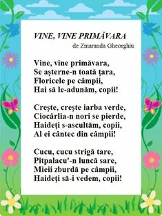 Romanian Language, Poetry For Kids, Kindergarten Crafts, School Lessons, Nursery Rhymes, Homeschool, Parenting, Songs, Activities