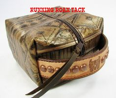"""Bronze Aztec"" Cosmetic Bag with Stamped Rough Out Handle by Running Roan Tack"