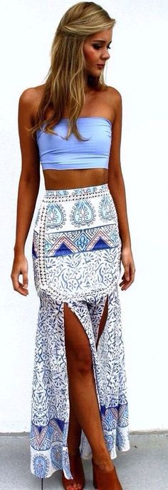 Resort-Crop Top And Side-Slit Maxi skirt.