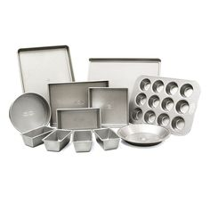 Bake up a delicious treat with this 12 piece baking set from USA Pan. Made from durable aluminized steel, this set includes an eight inch round cake pan, nine inch round pie pan, cookie sheet, half sheet, jellyroll pan, square pan, small loaf pan, a 12 well muffin pan, and four mini loaf bread pans.