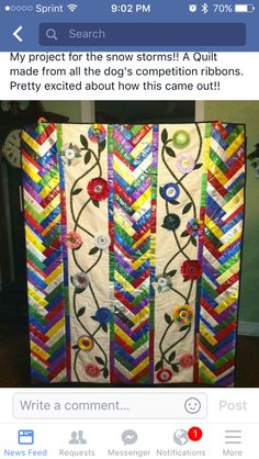 Quilt made out of ribbons