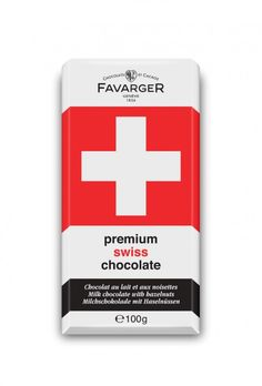 FAVARGER SWISS CROSS MILK HAZELNUT BAR 100G. This wrapper bearing the colours of the Swiss flag conceals a harmonious blend of smooth milk chocolate, delicious hazelnut praline and crunchy caramelised hazelnuts. Shop online at Candylicious! International shipping available. Desserts | Party | Gifts | Food | Candy