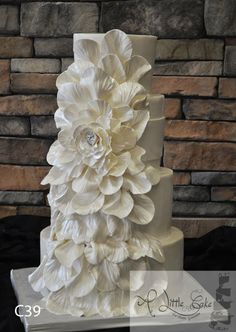 Fondant Wedding Cake With An Overflowing Flower - by alittlecake @ CakesDecor.com - cake decorating website