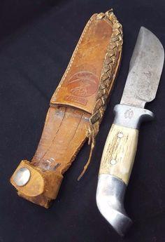"Vintage R.H. Ruana Knife- Bonner Montana ""M"" Stamp Elk Horn Knife/Sheath RARE    eBay"