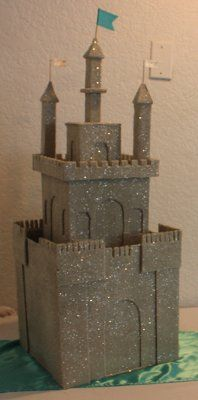 Sand castle card box built from moving boxes, etc.