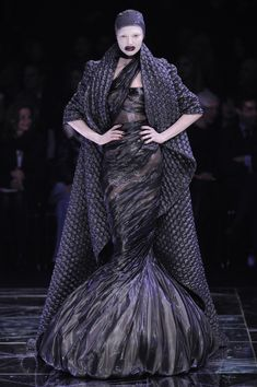 A Fall 2009 McQueen dress in the exhibition as it appeared on the runway