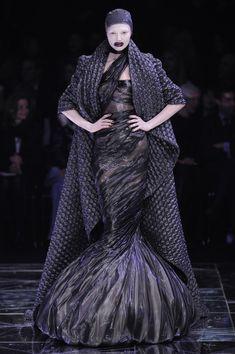 Alexander McQueen 'Horn of Plenty' F/W 2009 - black fishtale dress and coat