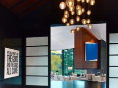 Wonderful Art Room Decor Plan Inside Aspen Art House Near Bulb Pendant Lamps Along With Metal Wire Artwork At Corner Near Window