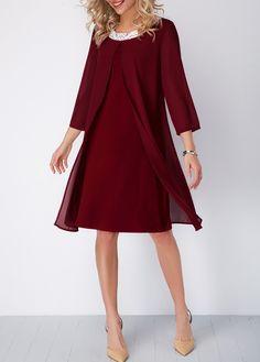 Three Quarter Sleeve Wine Red Shift Dress | liligal.com - USD $35.84