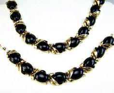 Vintage Burmese Black Necklace Bracelet Set by EclecticVintager, $70.00