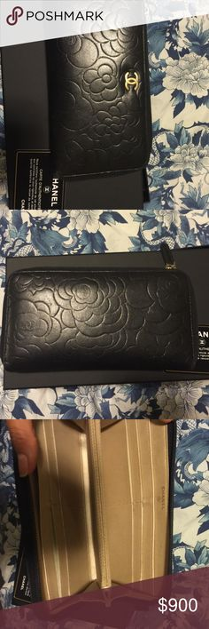 Lamb skin camellia wallet, continental standard Paid 250 to refurbish at Chanel repair center 6 months ago to patch signs of wear CHANEL Bags Wallets
