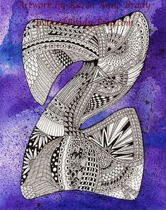 ACEO Alphabet Letter Z zentangle doodle initial monogram art print by Karen Anne Brady. You MUST check this artist out!! Her artwork is unbelievable & simply amazing!!