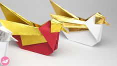 Learn how to fold an origami bird designed by Simon Andersen. These 'mandarin' or seagull birds can sit around or hang about as decorations all year round.