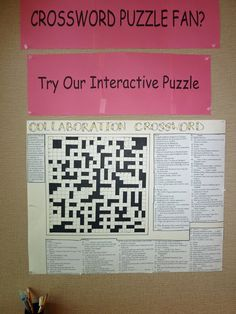 Dublin, CA Library - Collaborative Crossword Puzzle   Idea for teen library display