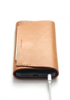 iPhone 5 Leather Sleeve / Case and Leather Wallet in One / Hand Stitched Natural Beige Leather / Buy one & Get a cable holder FREE