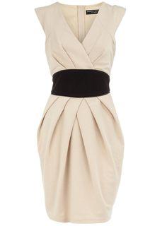 Obi self belted ponte dress with pleat shoulder detail. Elegant & sophisticated.