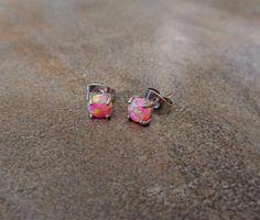 Fire Opal studs Earrings Pink Opal with 316L by Purityjewel