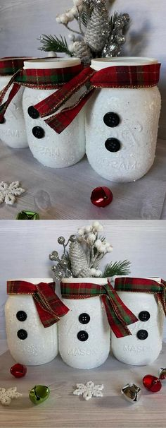 This adorable set of snowmen Mason jars makes a perfectly playful winter centerpiece. Add them to that special room for a festive look. Spice t ..