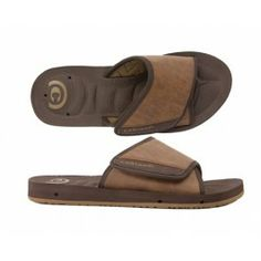 Cobian Chocolate GTS Draino Slides for Men with an Adjustable Strap.  Cushioned Foot Pain Relief in a Slide Sandal Style