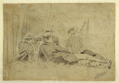 """Drawing, Study for """"The Fishing Party"""", ca. 1869 Winslow Homer."""