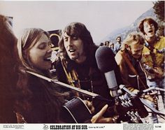 Joni Mitchell, Graham Nash, Stephen Stills, John Sebastian, seen on a lobby card for the 1971 concert film