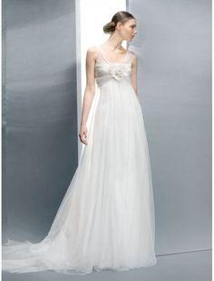 Tulle V-Neckline Empire Wedding Dress with Floral Detail Bust