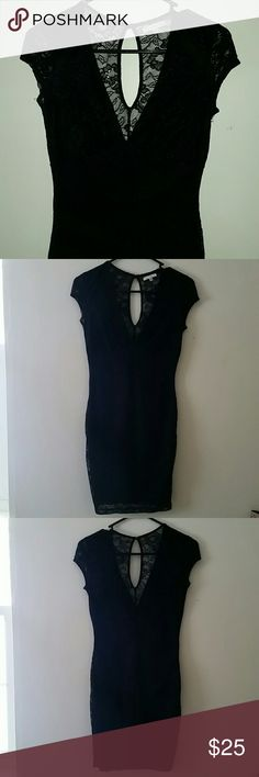 Lace Dress Black lace dress worn once to a sorority formal. The front is a deep V and the back has a cute peephole to where it buttons around the neck. Charlotte Russe Dresses