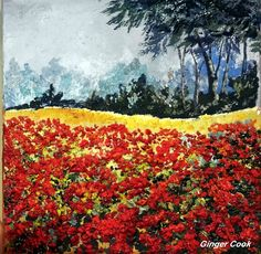 How to paint a floral textured poppies landscape painting tutorial Part 1