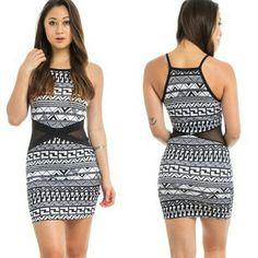 Contrast Dress Black Geometric Contrast Dress Dresses Mini